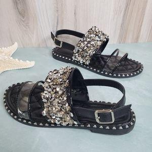 NEW Black Rhinestone Detail Clear Sandals
